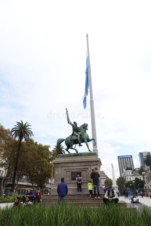 何塞・赫瓦西奥・阿蒂加斯陵墓在街市蒙得维的亚,乌拉圭 库存图片