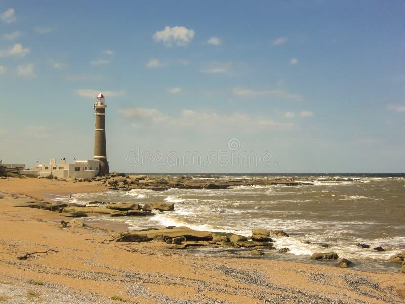 何塞伊廖齐灯塔和海滩 免版税图库摄影