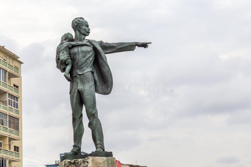 何塞马蒂,哈瓦那,古巴雕象  库存图片