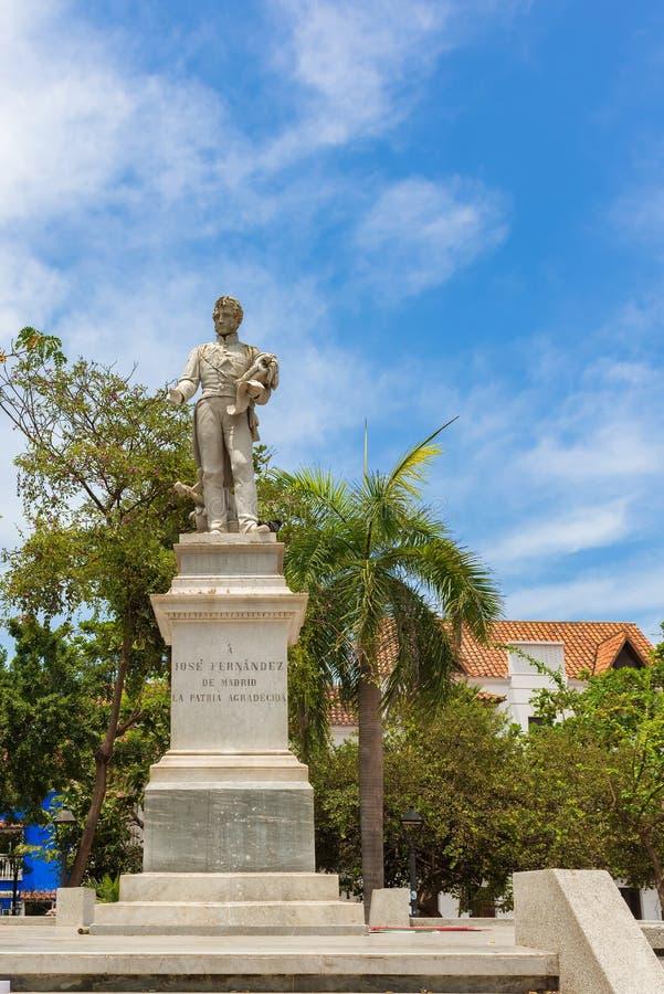 何塞费尔南德斯马德里雕象在老镇,卡塔赫钠,哥伦比亚 免版税库存图片