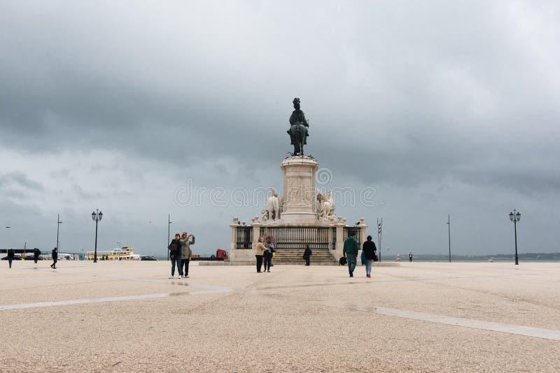 何塞I国王Praça的做Comércio,看法从后面 库存图片