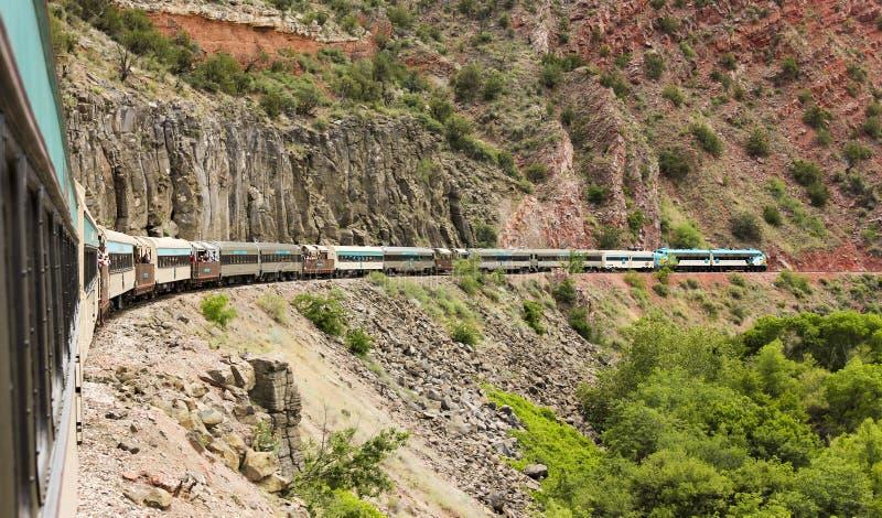 佛得岛峡谷火车,克拉克代尔,AZ,美国的看法 免版税库存图片
