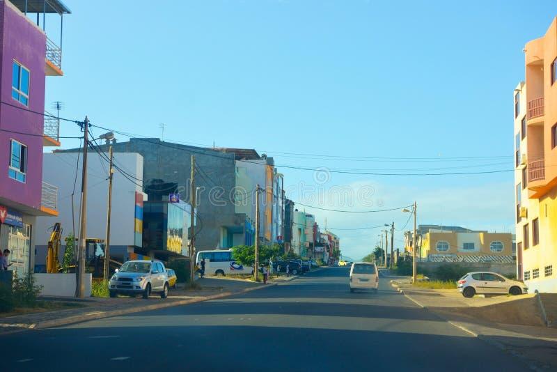 佛得角首都郊外,普腊亚,圣地亚哥岛城市 库存图片