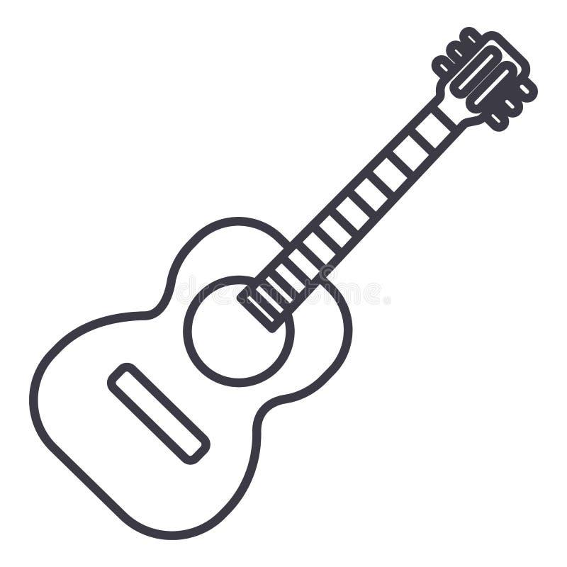 佛拉明柯舞曲吉他例证传染媒介线象,标志,在背景,编辑可能的冲程的例证 皇族释放例证