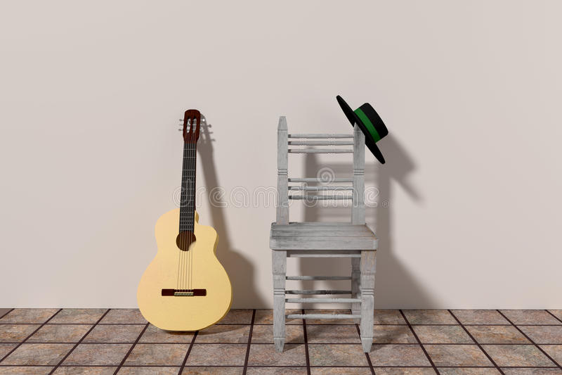 佛拉明柯舞曲吉他 向量例证
