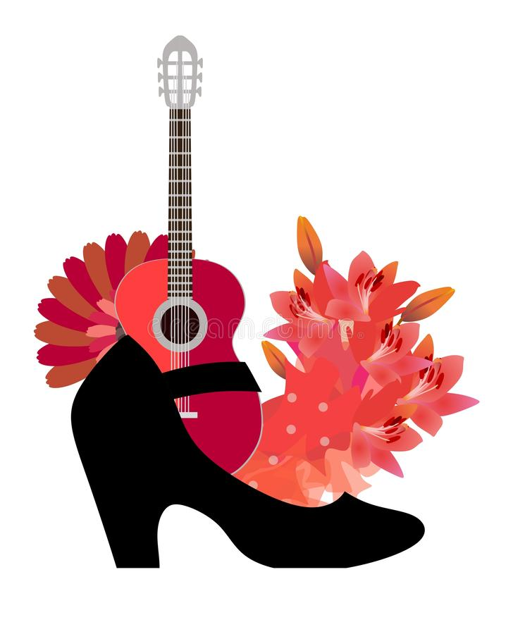 佛拉明柯舞曲的标志是吉他、爱好者、红色花、美丽的短上衣小点织品和跳舞的拖鞋 滑稽的构成 库存例证
