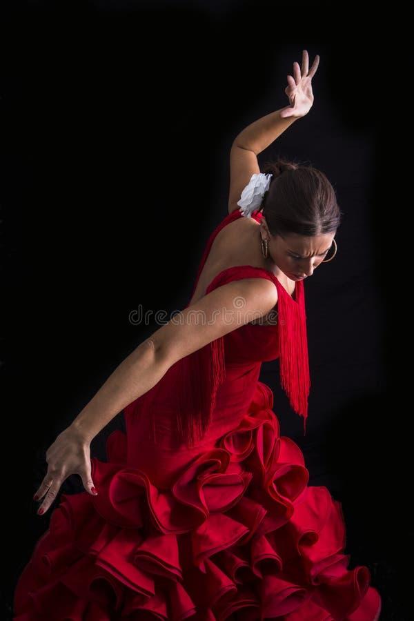 佛拉明柯舞曲舞蹈家在与表示的红色穿戴了 免版税库存照片