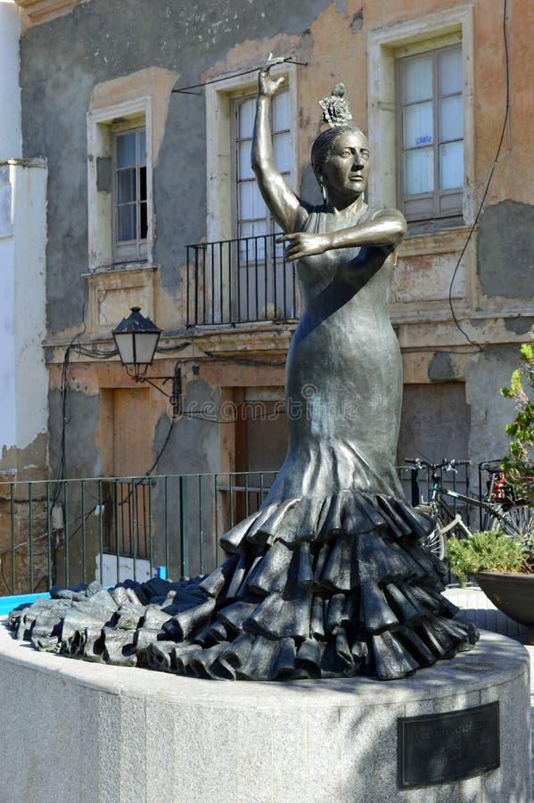 佛拉明柯舞曲舞蹈家雕象,卡迪士 免版税库存图片