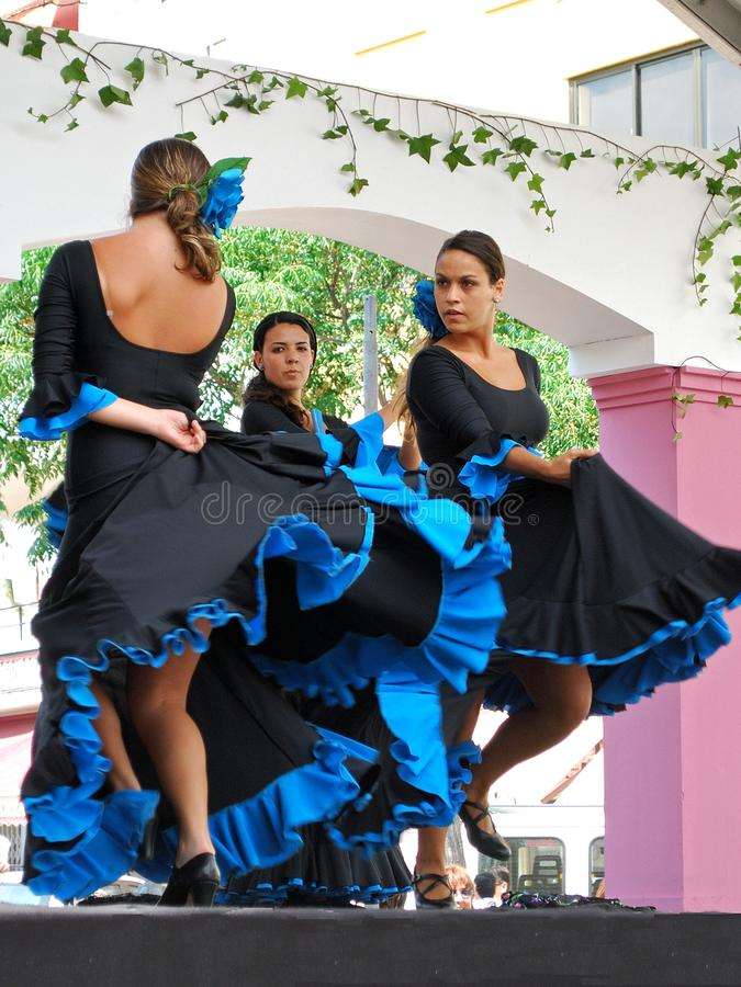 佛拉明柯舞曲舞蹈家,马尔韦利亚,西班牙。 免版税库存照片