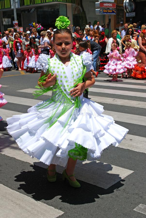 年轻佛拉明柯舞曲舞蹈家,马尔韦利亚 库存照片