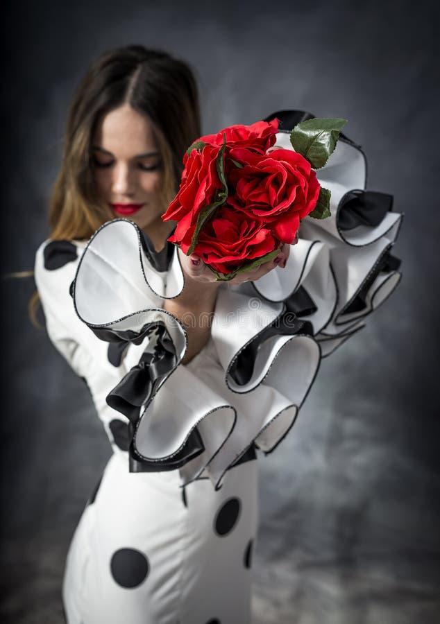 年轻佛拉明柯舞曲舞蹈家画象美丽的礼服的 图库摄影