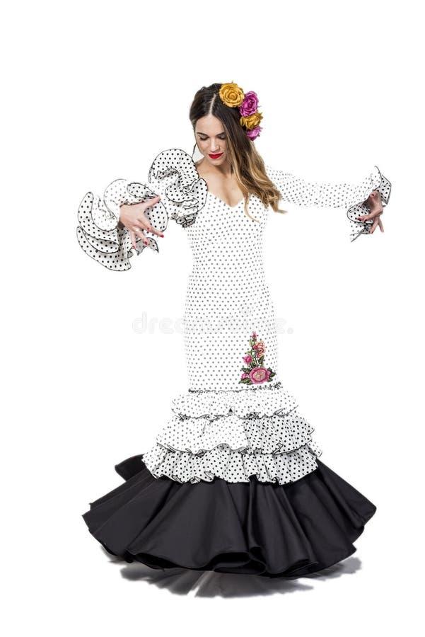 年轻佛拉明柯舞曲舞蹈家画象美丽的礼服的 库存图片