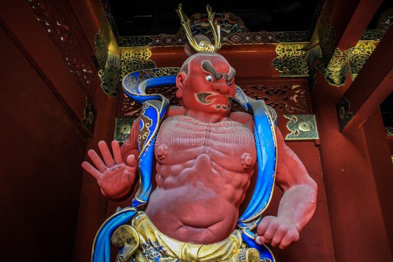 佛教和神道的信徒的战士雕象, Toshogu寺庙,日光,栃木县,日本 免版税库存图片