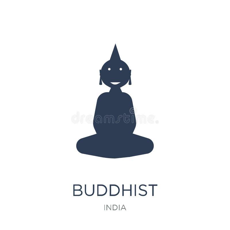 佛教图标 时髦平的在白色backgro的传染媒介佛教象 库存例证
