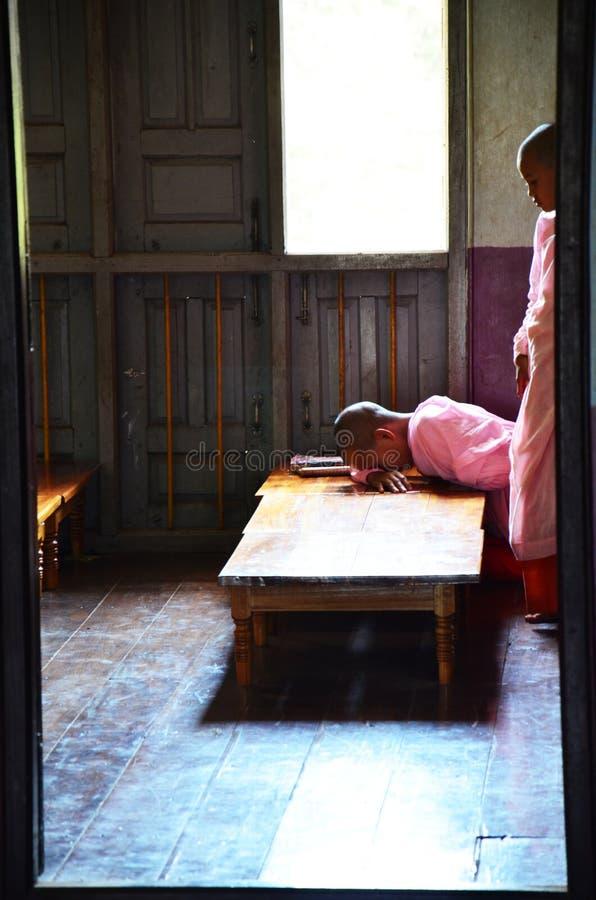 年轻佛教妇女禁欲主义者或尼姑休闲 免版税图库摄影
