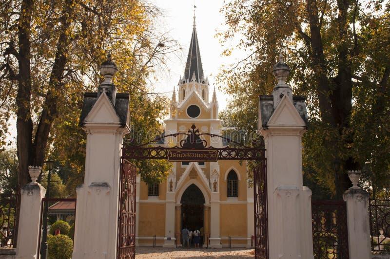 佛教寺庙教会(Wat Niwet Thamma的建筑学 库存图片