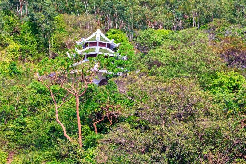 佛教寺庙美丽如画的看法在密林 库存图片