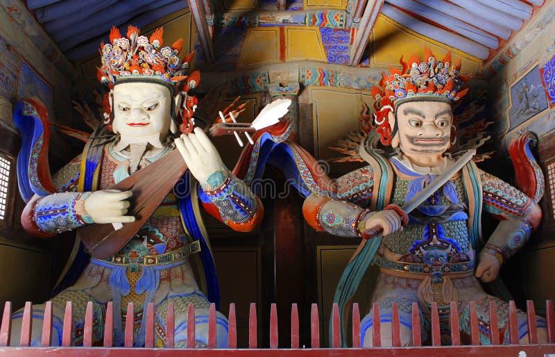 佛教寺庙雕象卫兵 免版税图库摄影