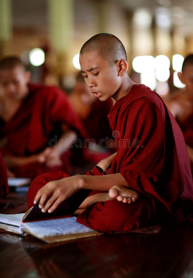 佛教新手在仰光 库存图片