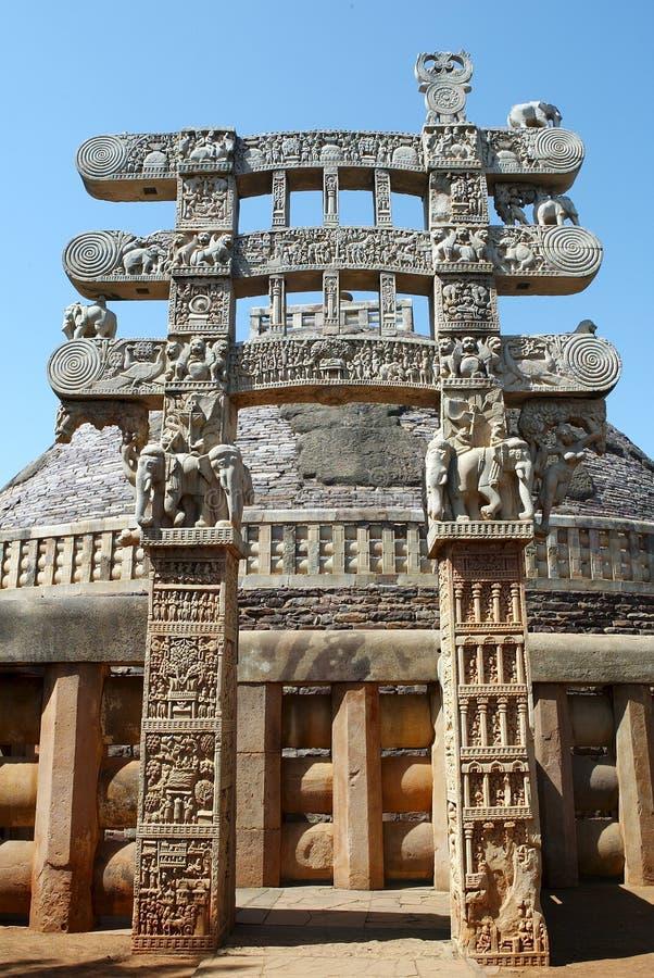 佛教纪念碑sanchi torala 库存照片