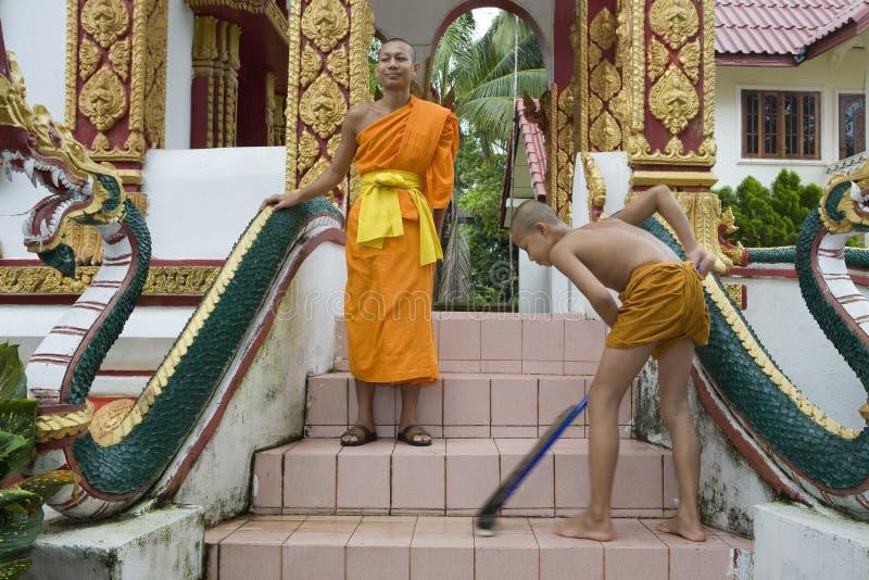 佛教老挝新手 免版税库存图片