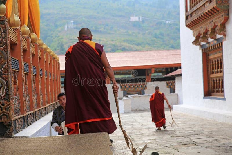佛教训练者,不丹 库存照片