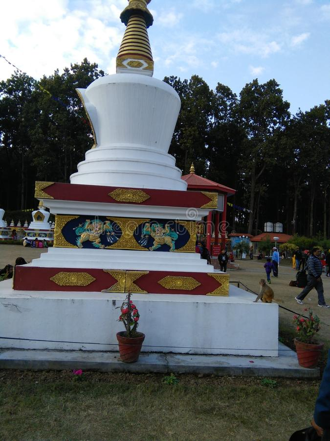 佛教货币在德拉敦印度的北阿坎德邦,这也是印度著名的寺庙 免版税图库摄影