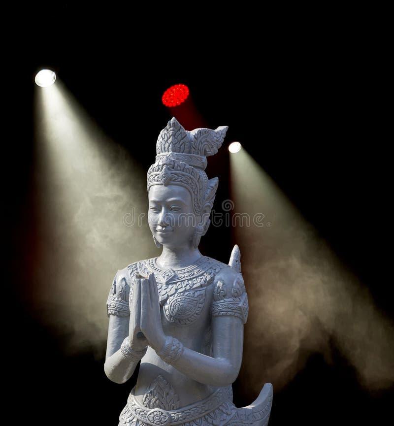 佛教雕塑在阶段 库存照片