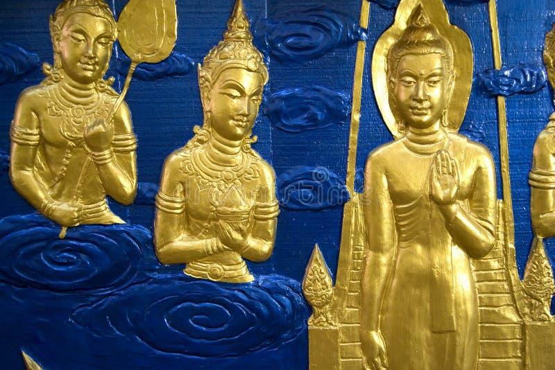 佛教雕塑寺庙墙壁 库存图片