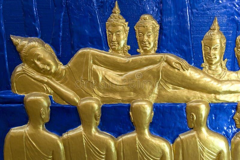 佛教雕塑寺庙墙壁 库存照片