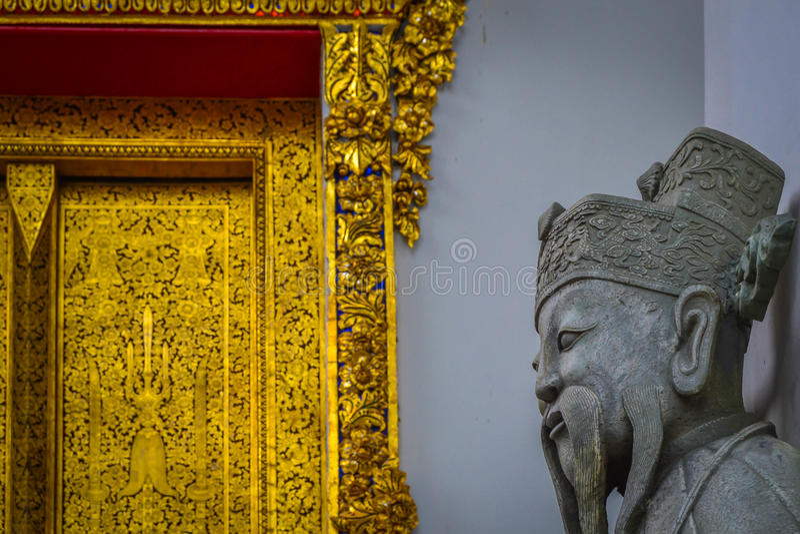 佛教雕象在曼谷 免版税库存图片