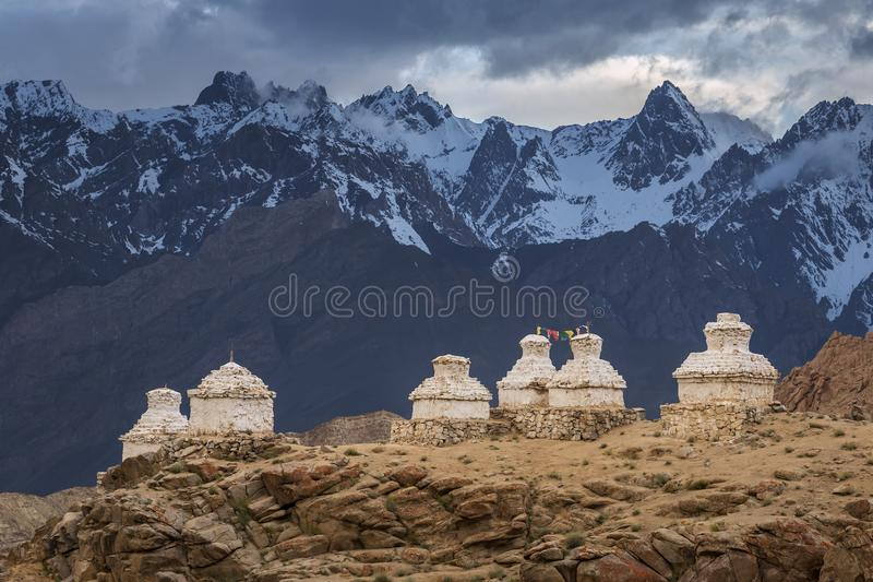 佛教chortens或stupas在Likir Gompa修道院, Leh区里 免版税库存图片