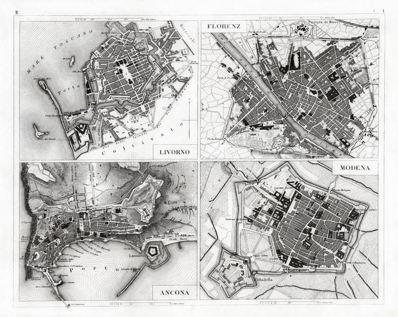 1874佛罗伦萨、摩德纳、安科纳和里窝那古色古香的地图  库存照片