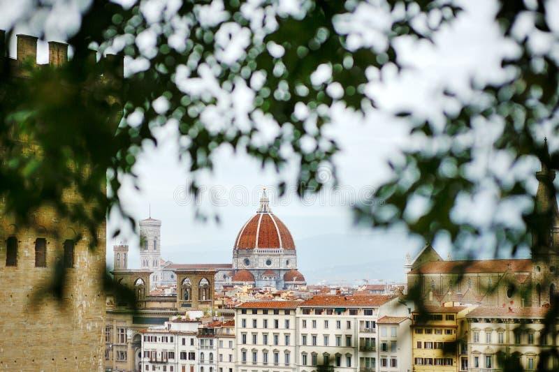 佛罗伦萨和大教堂圆顶,托斯卡纳,意大利全景, 免版税库存照片