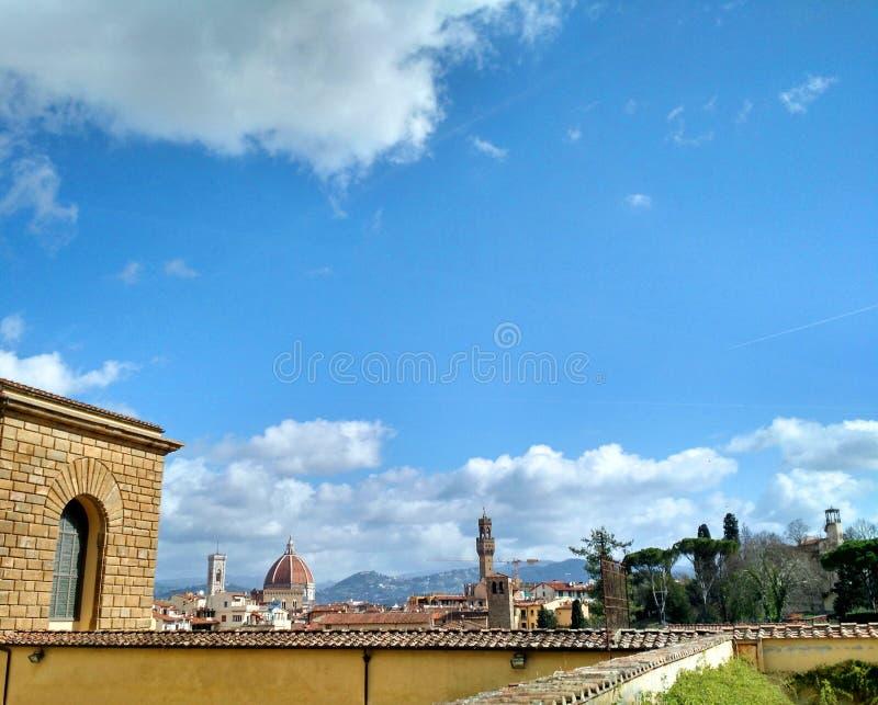 佛罗伦萨地平线看法从波波里庭院,意大利的 库存图片