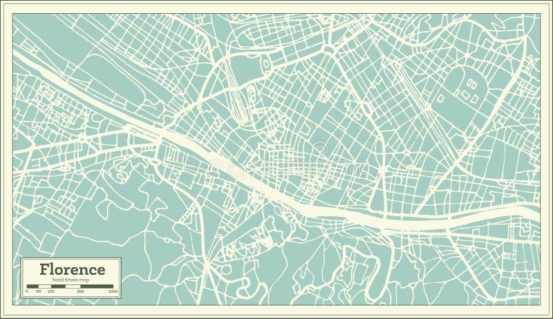 佛罗伦萨意大利在减速火箭的样式的市地图 黑白向量例证 向量例证