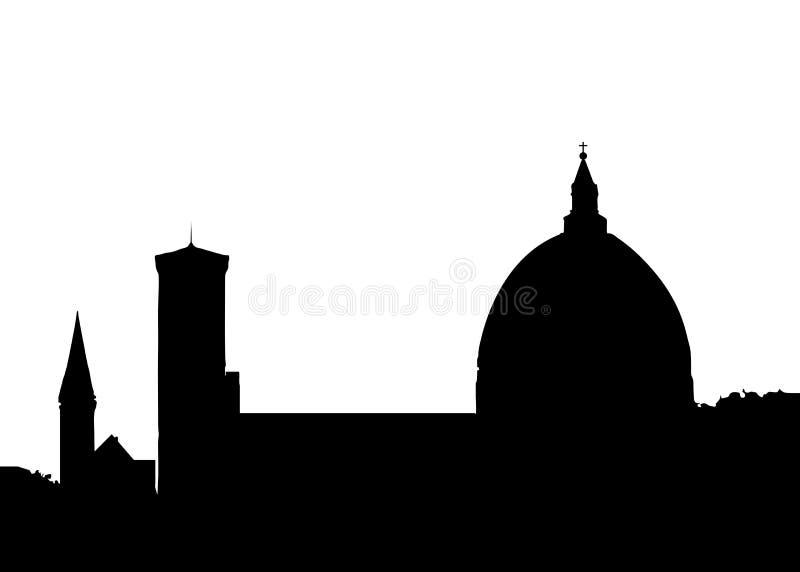 佛罗伦萨意大利地平线剪影在白色背景的黑色设计 手拉的墨水线剪影欧洲老镇佛罗伦萨 库存例证