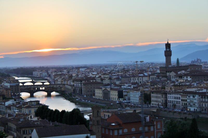 佛罗伦萨意大利日落托斯卡纳 免版税库存图片