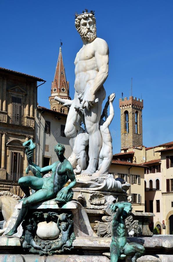 佛罗伦萨意大利neptun雕象 库存照片