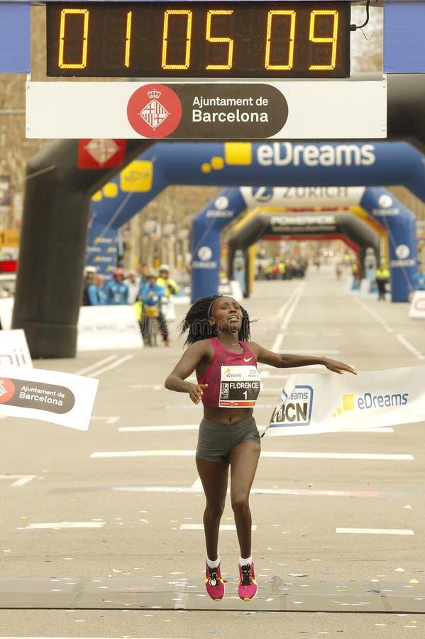 佛罗伦萨打破半马拉松世界纪录的基普拉加特 免版税库存照片