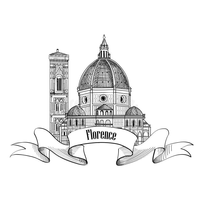 佛罗伦萨标签旅行意大利象 大教堂大厦 库存例证