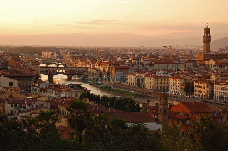 佛罗伦萨横向日落 图库摄影