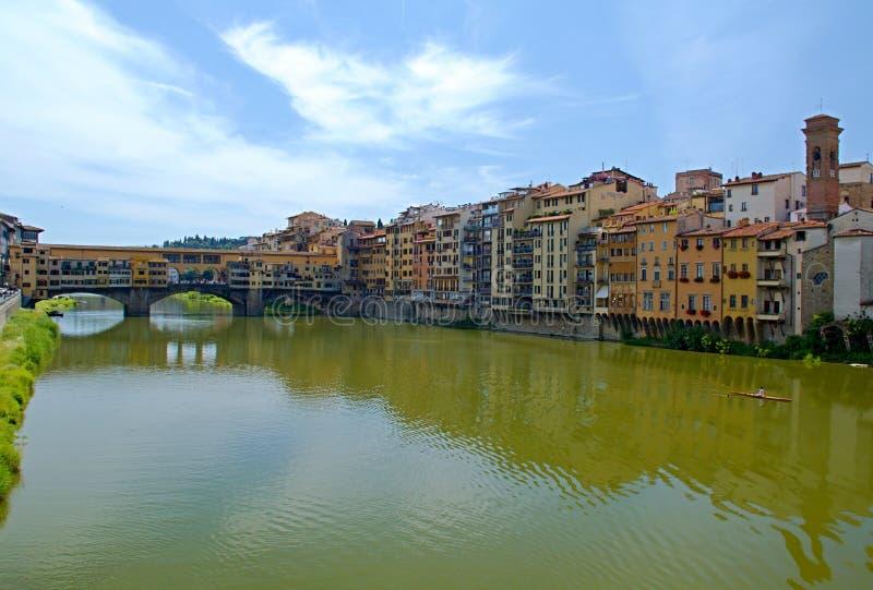 佛罗伦萨河岸视图 库存照片