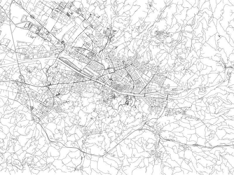 佛罗伦萨,城市地图,托斯卡纳,意大利街道  皇族释放例证
