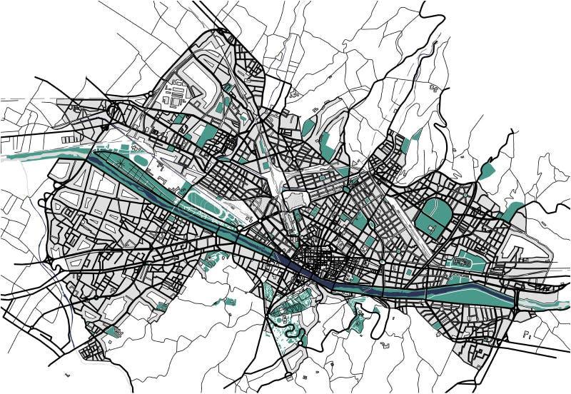 佛罗伦萨,意大利城市地图  库存例证