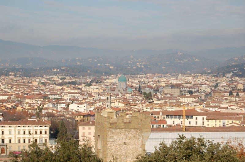 佛罗伦萨,意大利的顶视图  库存照片
