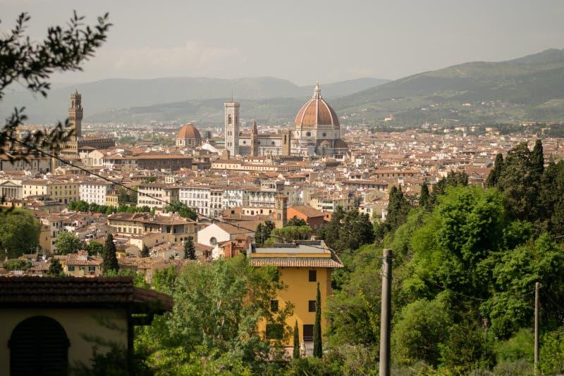 佛罗伦萨,意大利- 2018年4月24日, :在Cattedrale二圣玛丽亚del菲奥雷的看法 免版税库存照片