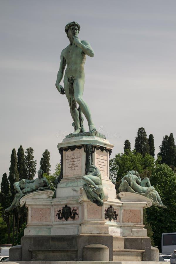 佛罗伦萨,意大利- 2018年4月24日, :米开朗基罗雕象在佛罗伦萨,意大利 免版税库存图片