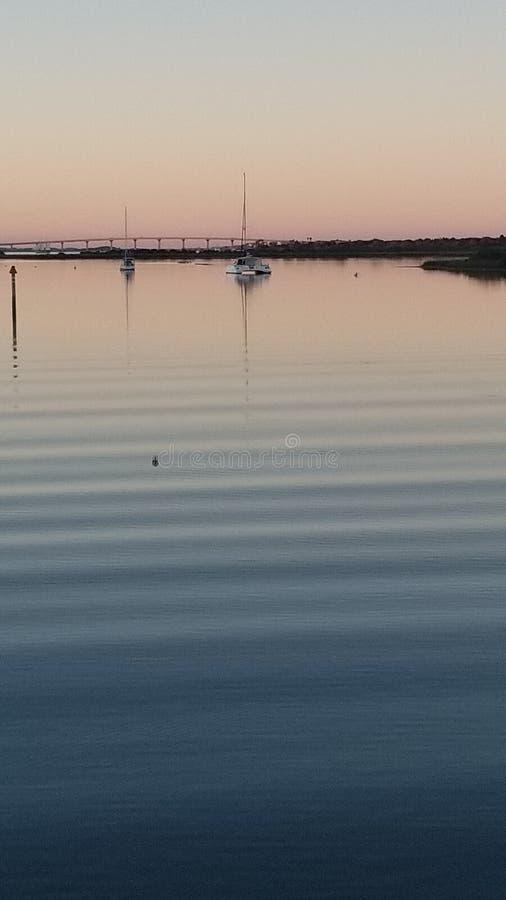 佛罗里达天空浇灌小船日落 库存照片