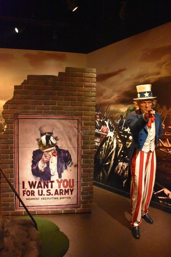 佛罗里达州奥兰多ICON公园杜莎夫人蜡像馆的山姆大叔蜡像 库存图片